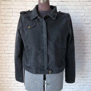 Black denim jean jacket Gap metal zipper Large